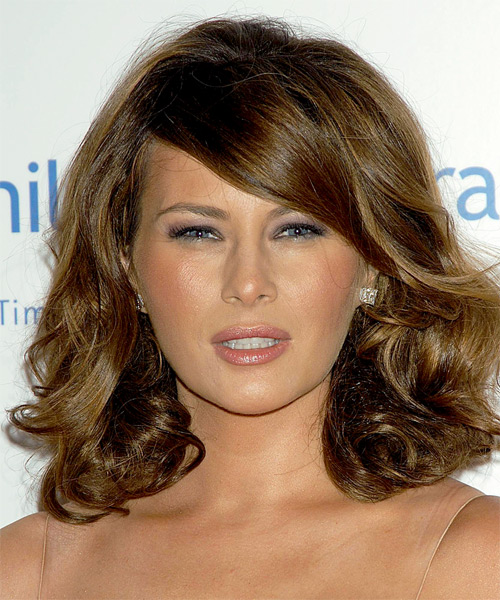 Melania Trump Medium Wavy    Brunette   Hairstyle with Side Swept Bangs  and Light Brunette Highlights