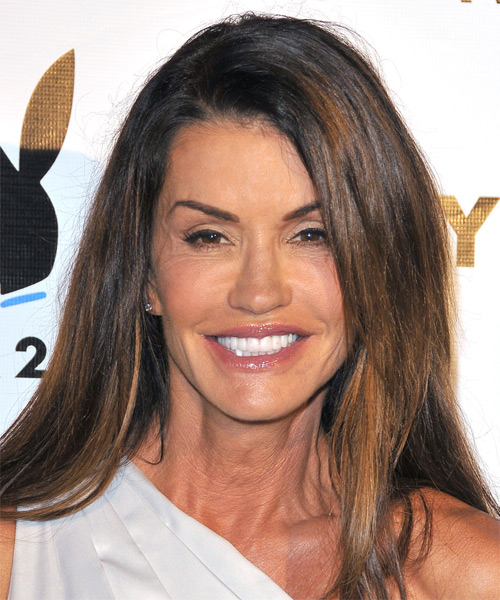Janice Dickinson Long Straight Casual    Hairstyle   - Dark Brunette Hair Color with  Brunette Highlights