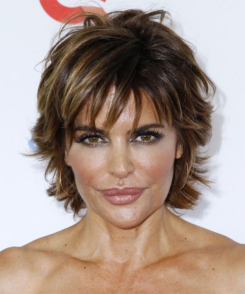 Lisa Rinna Short Straight Casual    Hairstyle with Layered Bangs  - Dark Chocolate Brunette Hair Color with Light Brunette Highlights