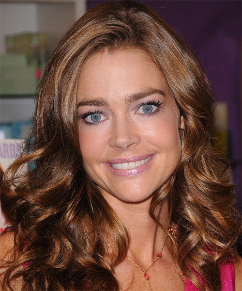 Denise Richards Long Wavy Formal   Hairstyle   - Medium Brunette (Chestnut)