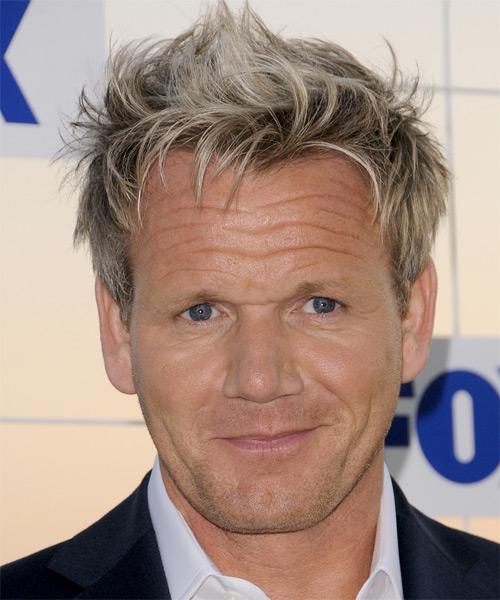 Gordon Ramsay Casual Short Straight Hairstyle Dark Ash Blonde Hair