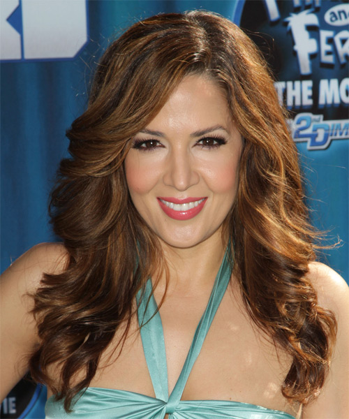 Maria Canals Berrera Long Wavy Formal   Hairstyle with Side Swept Bangs  - Medium Brunette