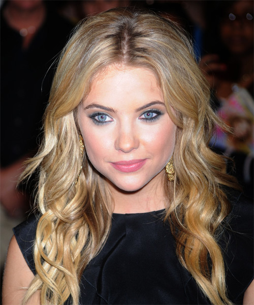 Ashley Benson Long Wavy Casual    Hairstyle   -  Golden Blonde Hair Color
