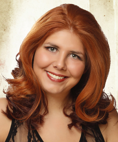 Medium Wavy    Ginger Red and Dark Brunette Two-Tone   Hairstyle