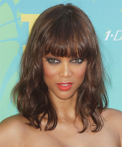 Tyra Banks Medium Wavy Casual    Hairstyle with Blunt Cut Bangs  - Medium Chestnut Brunette Hair Color