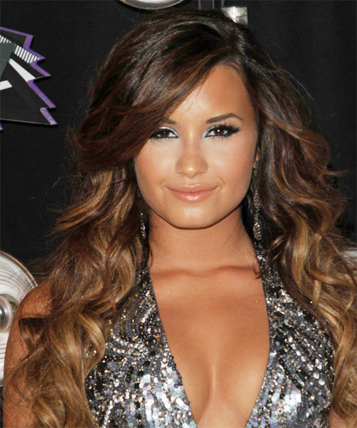 Demi Lovato Long Wavy Casual   Hairstyle with Side Swept Bangs  - Dark Brunette