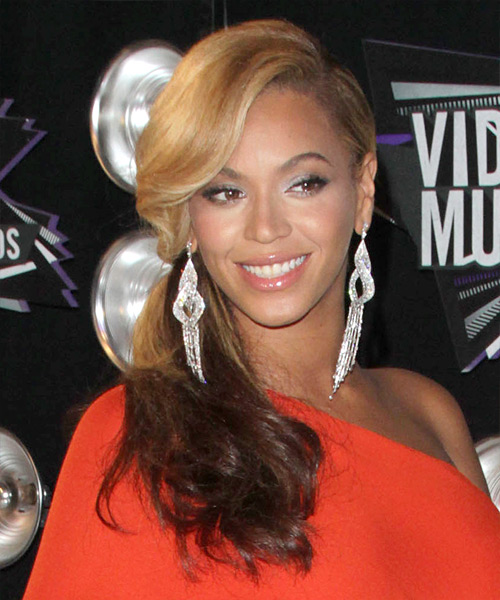 Beyonce Knowles  Long Curly Casual   Half Up Hairstyle   -  Blonde and  Brunette Two-Tone Hair Color