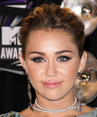 Miley Cyrus  Long Curly Formal   Updo Hairstyle   -  Brunette Hair Color