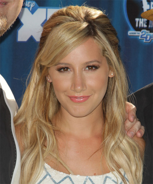 Ashley Tisdale Half Up Long Straight Casual  Half Up Hairstyle with Side Swept Bangs  - Medium Blonde