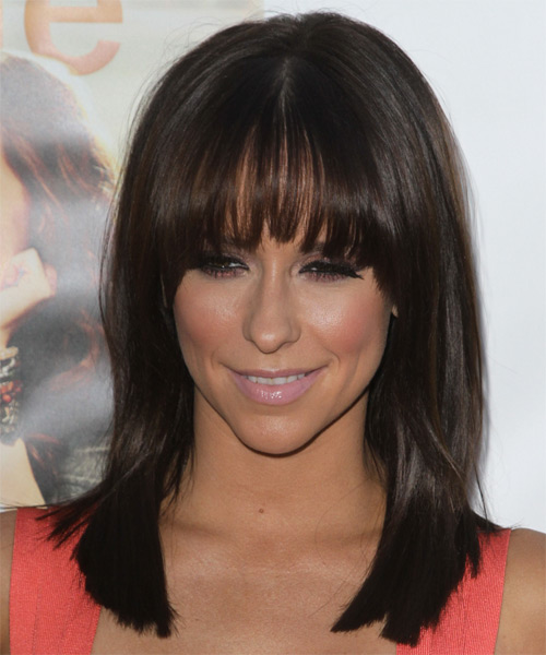 Jennifer Love Hewitt Medium Straight Formal    Hairstyle with Layered Bangs  - Dark Brunette Hair Color