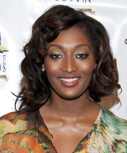 Toccara Jones Medium Wavy Formal   Hairstyle with Side Swept Bangs  - Black