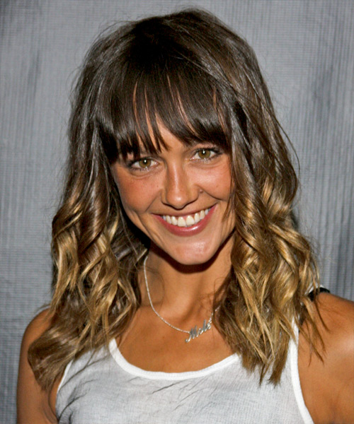 Sharni Vinson Medium Curly Casual    Hairstyle with Blunt Cut Bangs  -  Brunette and Dark Blonde Two-Tone Hair Color