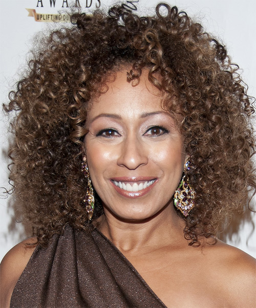 Tamara Tunie Medium Curly Casual    Hairstyle   -  Brunette Hair Color