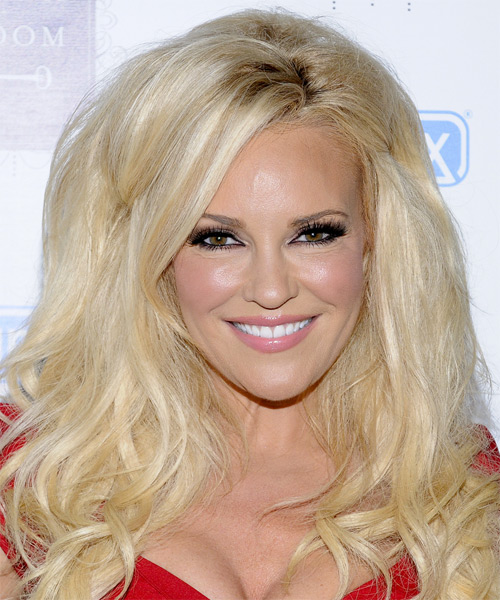 Bridget Marquardt Long Wavy Formal    Hairstyle with Side Swept Bangs  - Light Platinum Blonde Hair Color