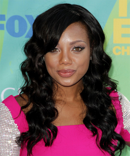 Tiffany Hines  Long Wavy Formal    Hairstyle with Side Swept Bangs  - Black  Hair Color