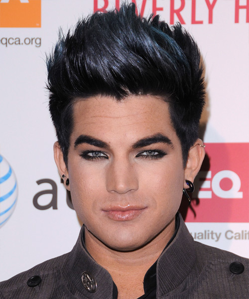 Adam Lambert Short Straight Casual  Emo  Hairstyle   - Black Ash  Hair Color with Blue Highlights