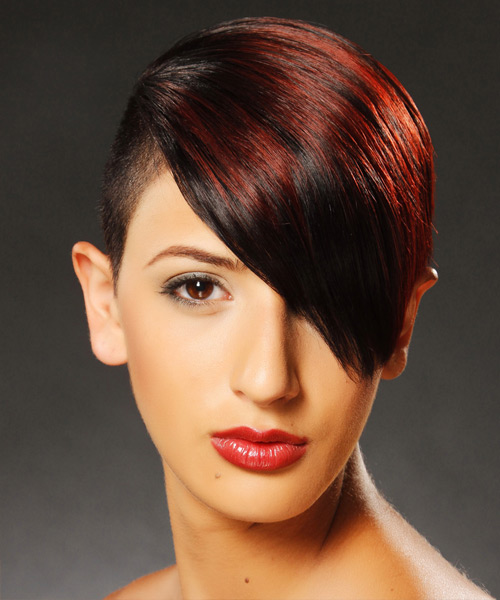 Short Straight   Dark Red Undercut  Hairstyle with Side Swept Bangs  and Dark Red Highlights