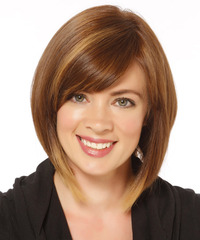 Medium Straight Formal  Bob  Hairstyle   - Light Caramel Brunette Hair Color with  Blonde Highlights