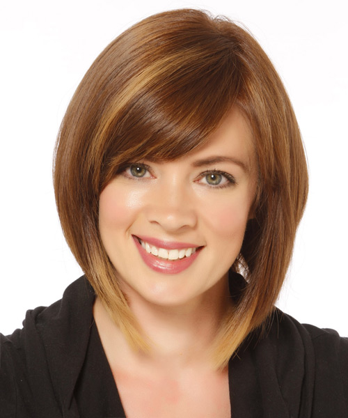 Medium Straight   Light Caramel Brunette Bob  Haircut   with  Blonde Highlights