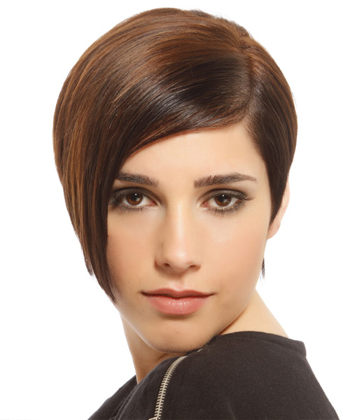 Short Straight    Brunette Asymmetrical  Hairstyle   with Light Brunette Highlights