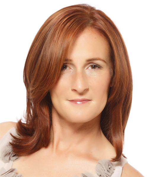 Medium Straight Formal    Hairstyle   -  Ginger Red Hair Color with  Red Highlights