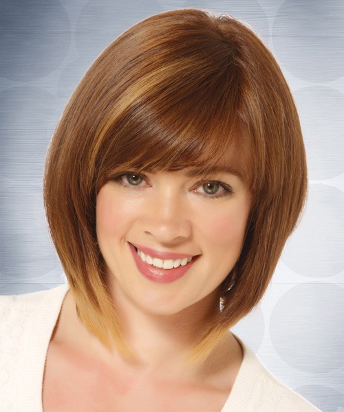 Medium Straight   Light Caramel Brunette Bob  Haircut with Side Swept Bangs  and  Blonde Highlights