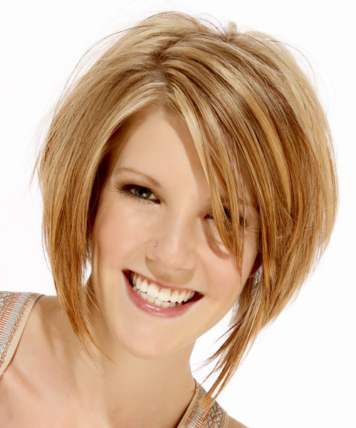 Medium Straight Layered   Golden Blonde Bob  Haircut   with Light Blonde Highlights