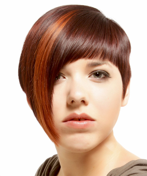 Short Straight    Burgundy Red Asymmetrical  Hairstyle with Razor Cut Bangs  and Orange Highlights