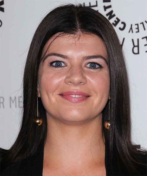 Casey Wilson Medium Straight Formal   Hairstyle   - Dark Brunette