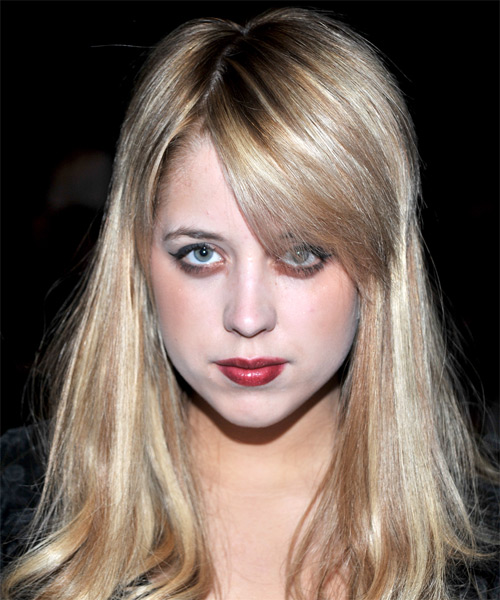 Peaches Geldof Long Straight Casual    Hairstyle with Side Swept Bangs  - Medium Champagne Blonde Hair Color with Light Blonde Highlights