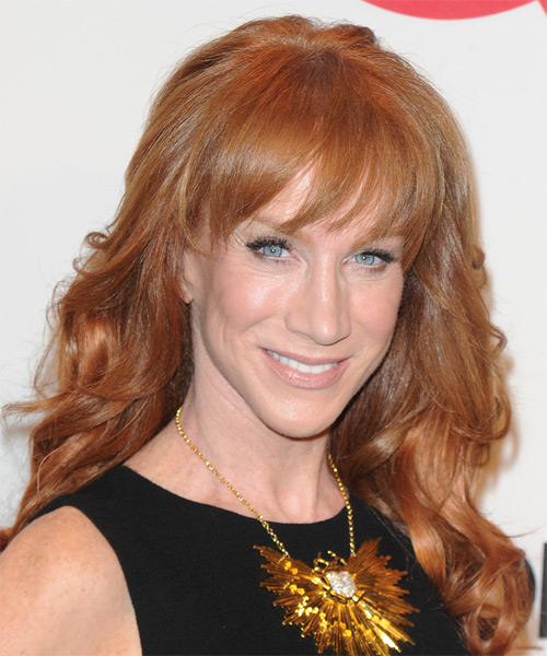 Kathy Griffin Long Wavy Formal   Hairstyle with Layered Bangs  - Medium Red (Ginger)