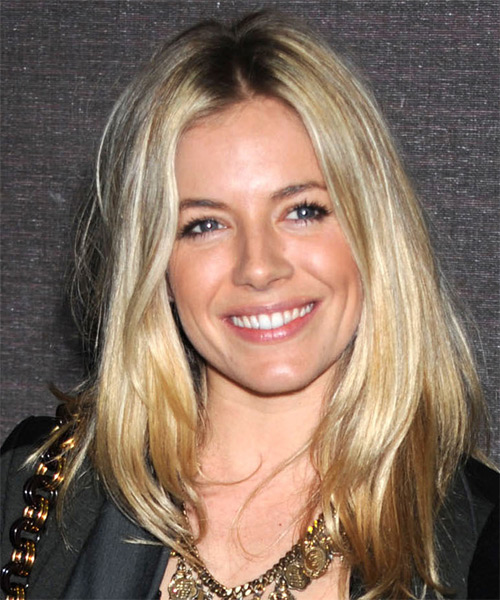 Sienna Miller Long Straight Casual    Hairstyle   -  Blonde Hair Color with Light Blonde Highlights