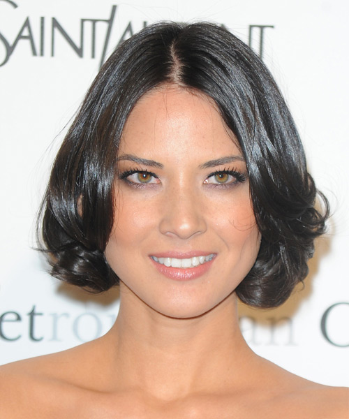 Olivia Munn Short Wavy Formal  Bob  Hairstyle   - Dark Brunette Hair Color