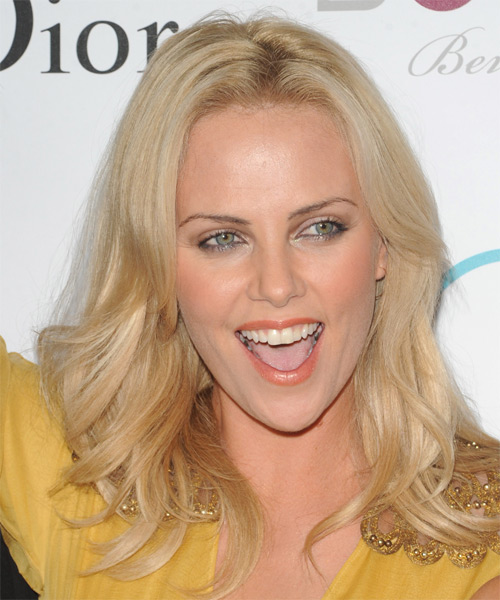 Charlize Theron Long Straight Casual   Hairstyle   - Light Blonde