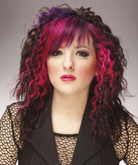 Long Curly   Dark Brunette and Pink Two-Tone   Hairstyle