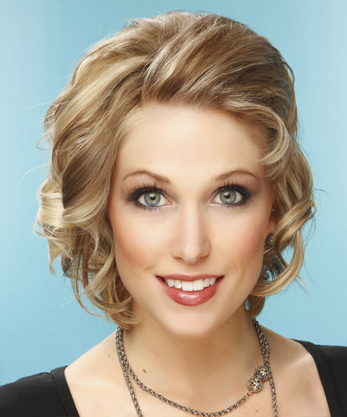 Short Curly Formal    Hairstyle   -  Champagne Blonde Hair Color with Light Blonde Highlights