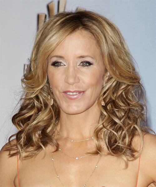 Felicity Huffman Medium Curly Formal    Hairstyle   -  Golden Blonde Hair Color with Light Blonde Highlights