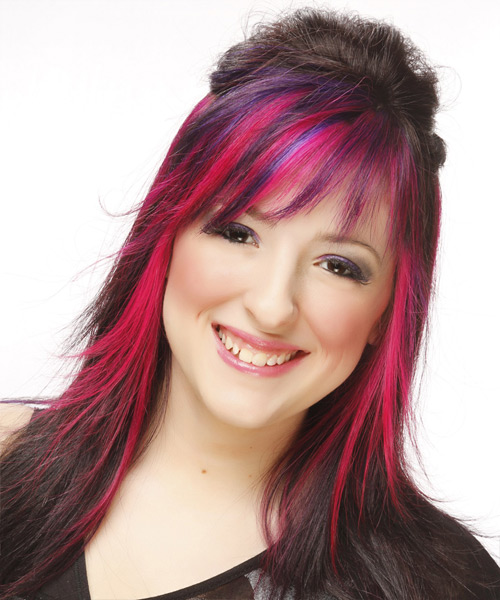 Long Straight Alternative   Half Up Hairstyle with Layered Bangs  - Dark Brunette and Pink Two-Tone Hair Color with Purple Highlights
