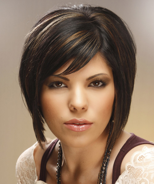 Medium Straight   Black Caramel  Bob  Haircut with Side Swept Bangs  and  Brunette Highlights