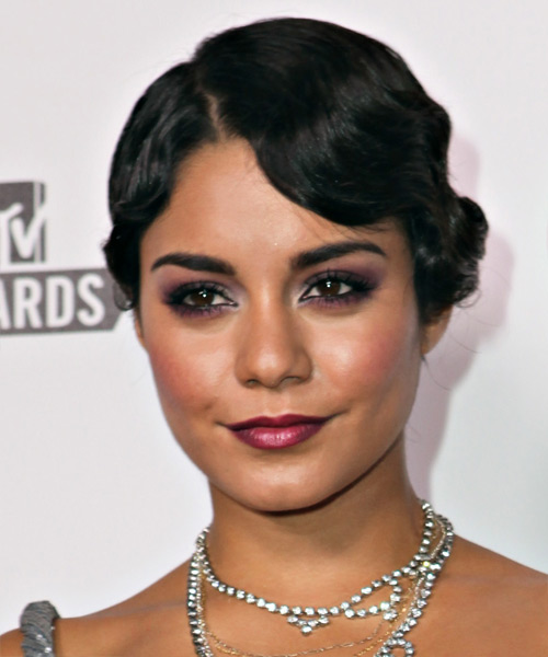Vanessa Hudgens  Medium Curly Formal   Updo Hairstyle   - Black  Hair Color