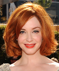 Christina Hendricks Medium Wavy Formal Layered Bob  Hairstyle with Side Swept Bangs  -  Ginger Red Hair Color