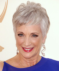Randee Heller Short Straight Formal    Hairstyle with Layered Bangs  - Light Grey Hair Color