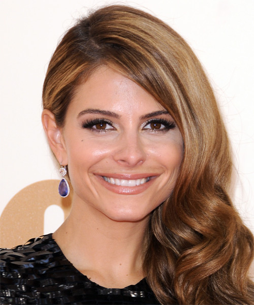 Maria Menounos Long Wavy Formal    Hairstyle   -  Auburn Brunette Hair Color with Dark Blonde Highlights