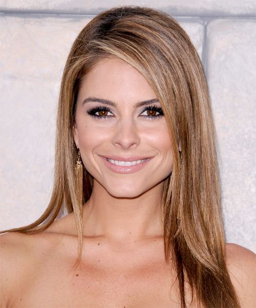 Maria Menounos Long Straight   Light Caramel Brunette   Hairstyle   with Light Blonde Highlights