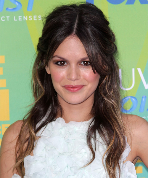 Rachel Bilson Half Up Long Curly Casual  Half Up Hairstyle   - Dark Brunette