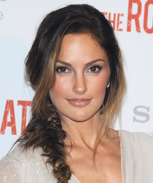 Minka Kelly  Long Curly Casual  Braided Half Up Hairstyle   -  Brunette Hair Color