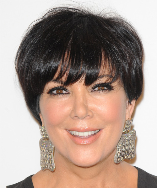 Kris Jenner Short Straight Formal   Hairstyle with Layered Bangs  - Dark Brunette