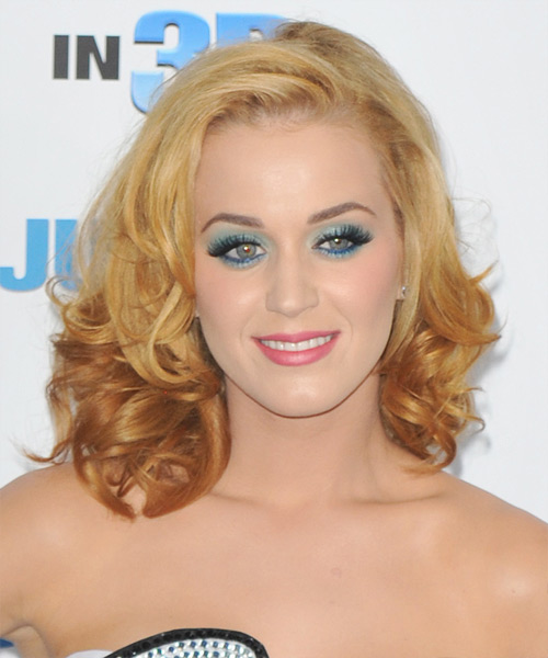 Katy Perry Medium Wavy Formal    Hairstyle   -  Bright Blonde Hair Color with Yellow Highlights