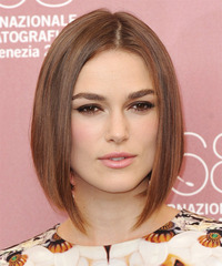 Keira Knightley Medium Straight   Light Auburn Brunette Bob  Haircut   with Light Brunette Highlights