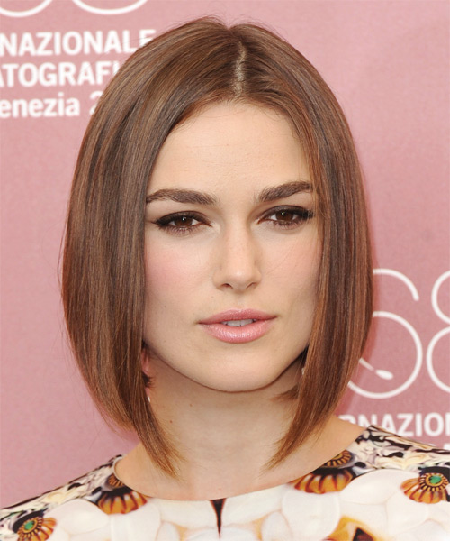 Keira Knightley Medium Straight Formal  Bob  Hairstyle   - Light Auburn Brunette Hair Color with Light Brunette Highlights